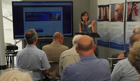 Angharad Fychan demonstrating GPC's new website