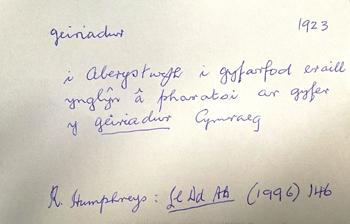 1923 slip of the word geiriadur